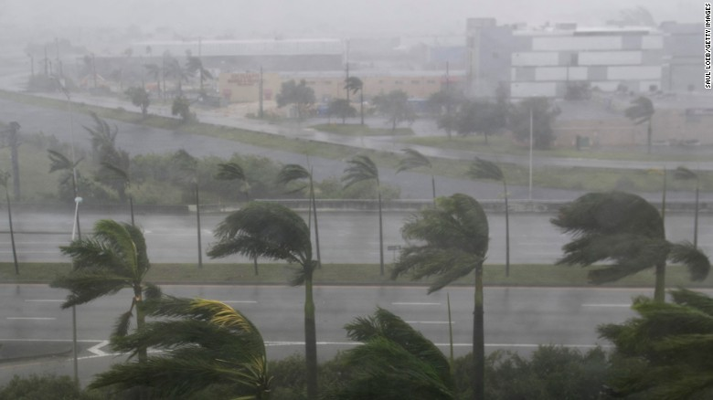 Heavy winds and rain from Hurricane Irma are seen in Miami on September 10.