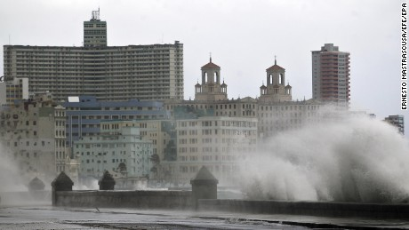 Water battered the city's pier and flooding some low-lying areas of Havana on Saturday.