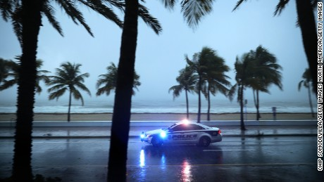 FORT LAUDERDALE, FL - SEPTEMBER 09:  Police patrol the street running along Sebastian Street Beach ahead of the arrival of Hurricane Irma September 9, 2017 in Fort Lauderdale, Florida. Governor Rick Scott has ordered an evacuation of millions of people from the southern part of the state ahead of the unprecedented storm.  (Photo by Chip Somodevilla/Getty Images)