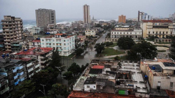 An overview of Havana shows flooded streets on Saturday, September 9.