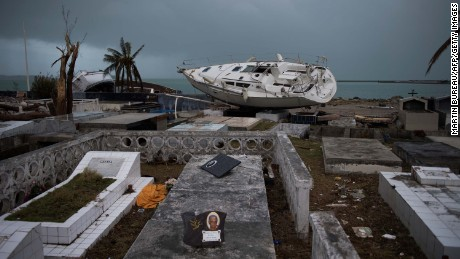 A sailing boat is beached in the cemetery of Marigot on St. Martin  on Saturday.
