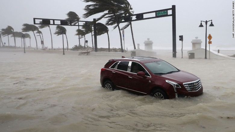 A car sits abandoned in storm surge as Hurricane Irma hits in Fort Lauderdale, Florida. September 10.