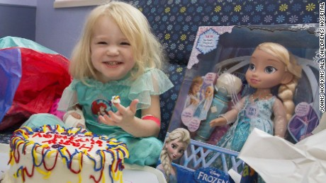 During Hurricane Irma at Johns Hopkins All Children's Hospital, Kelly Boyd, Child Life Department, joined by many nurses helped celebrate Willow's 3rd birthday. Hospital staff made a birthday party for Willow, cake and all.
