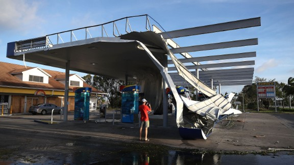 Irma damaged this gas station roof in Bonita Springs.