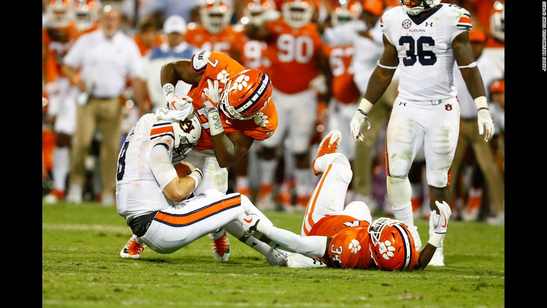 Clemson defensive end Austin Bryant sacks Auburn quarterback Jarrett Stidham during Clemson's 14-6 victory on Saturday, September 9. Bryant had four of Clemson's 11 sacks in the game.