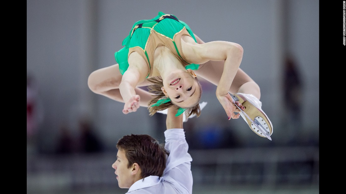 Russian figure skaters Kseniia Akhanteva, top, and Valerii Kolesov compete in Riga, Latvia, on Thursday, September 7.