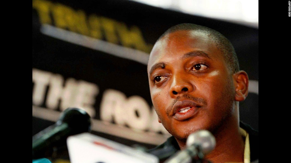 "Nkosinathi Biko, son of Steve Biko, at a press conference on March 31, 1998. Five policemen confessed to their role in the death of Steve Biko in 1977 and sought amnesty as part of the Truth and Reconciliation Commission. Their request was <a href=""http://news.bbc.co.uk/1/hi/world/africa/281100.stm"" target=""_blank"">rejected</a>."