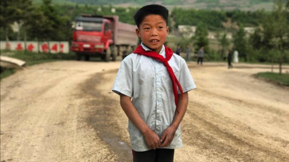 A boy living in the mountainous northeastern border region on September 3, not far from North Korea