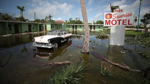 EAST NAPLES, FL - SEPTEMBER 11:  The Sunrise Motel remains flooded after Hurricane Irma hit the area on September 11, 2017 in East Naples, Florida. Yesterday Hurricane Irma hit Florida