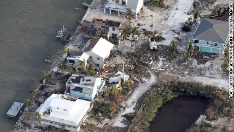 FLORIDA KEYS, FL - SEPTEMBER 11: Damaged houses are seen in the aftermath of Hurricane Irma on September 11, 2017 over the Florida Keys, Florida (Photo by Matt McClain-Pool/Getty Images)