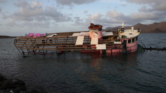 The skeleton of a boat drifts in St. Martin