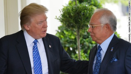 US President Donald Trump greets Malaysian Prime Minister Najib Razak outside of the West Wing of the White House on September 12, 2017, in Washington, DC. (MANDEL NGAN/AFP/Getty Images)