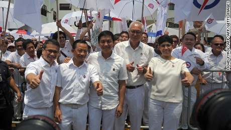 Singapore PAP members (front L to R) Edwin Tong, Seah Kian Peng, Tan Chuan-Jin, former prime minister Goh Chok Tong and Fatimah Lateef on September 1, 2015.