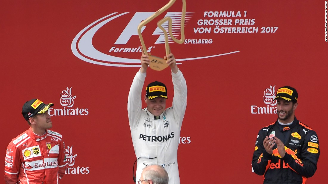 Valtteri Bottas has been rewarded for his flying start as a Mercedes driver with a one-year contract extension. The Finn has won two Grands Prix this year: Austria (pictured) and Russia.