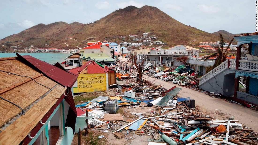 Buildings are destroyed in St. Martin on September 12.