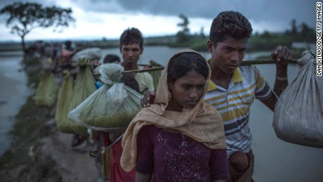 Rohingya refugees after crossing the border between Myanmar and Bangladesh.