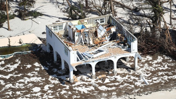 A home on Big Pine Key was ripped apart by the Category 4 hurricane.