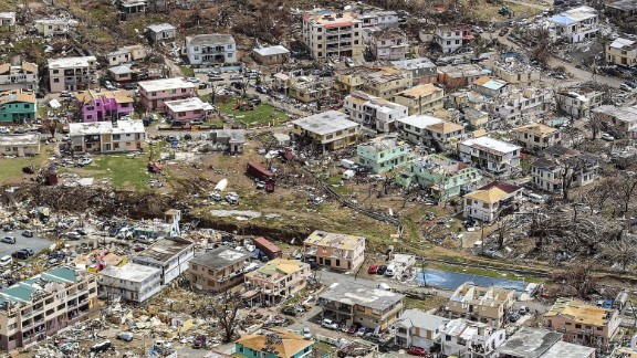 An aerial photo shows the devastation in Road Town, the capital of Tortola, the largest and most populated of the British Virgin Islands, on Wednesday, September 13.
