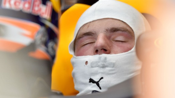 Red Bull Racing's Max Verstappen gets some shut-eye at Spa-Francorchamps.