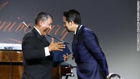 "Rep. Adriano Espaillat embraces ""Hamilton"" creator Lin-Manuel Miranda after awarding him the Congressional Hispanic Caucus Institute's Medallion of Excellence on Wednesday, Sept. 13, 2017."