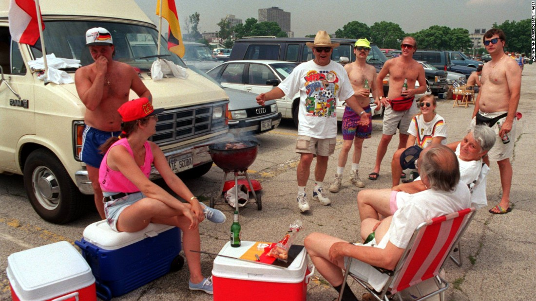 Soccer fans tailgate outside Chicago's Soldier Field in 1994 -- when the United States hosted the World Cup -- ahead of a match between Germany and Bolivia. Germany won 1-0.