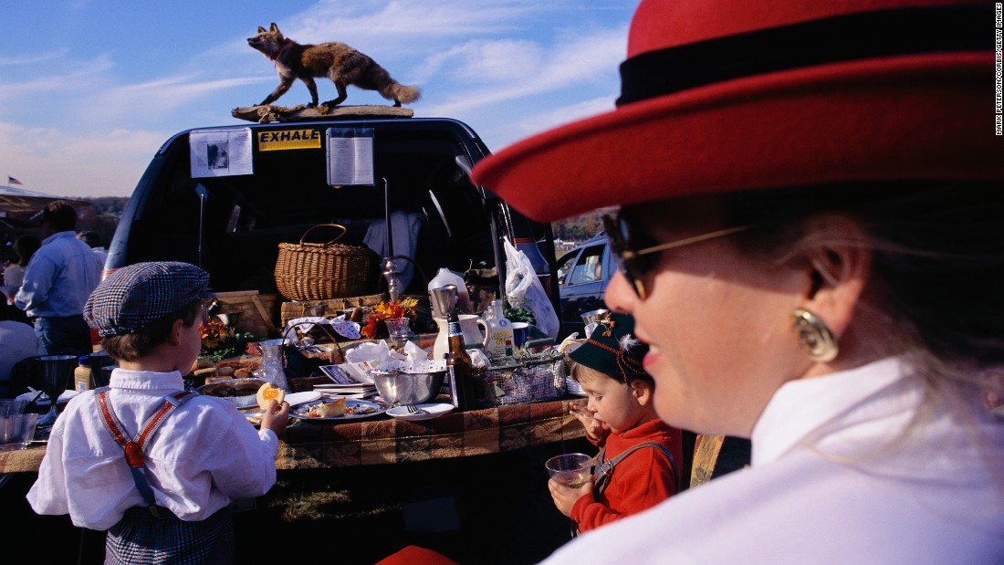 Tailgating isn't just for football fans: this family enjoys a fancy spread before the Far Hills steeplechase horse race in New Jersey.