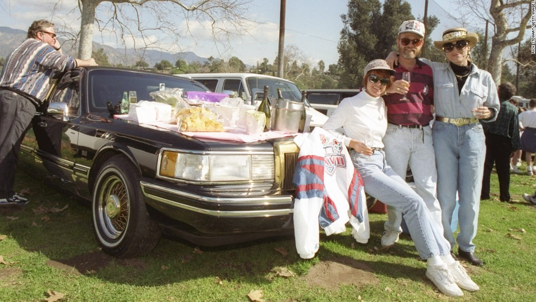 Dallas Cowboys fans tailgate before Super Bowl XXVII at Rose Bowl Stadium in Pasadena, California, in 1992. The Cowboys defeated the Buffalo Bills 52-17.