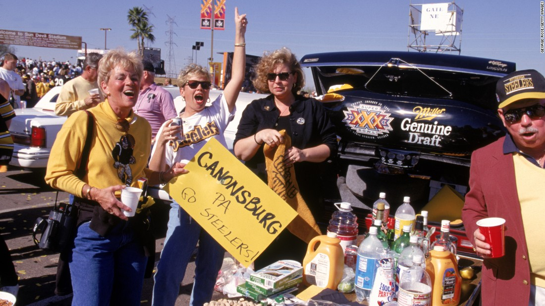 Pittsburgh Steelers fans cheer for their team before Super Bowl XXX at Sun Devil Stadium at Tempe, Arizona, in 1996. The Dallas Cowboys defeated the Steelers 27-17.