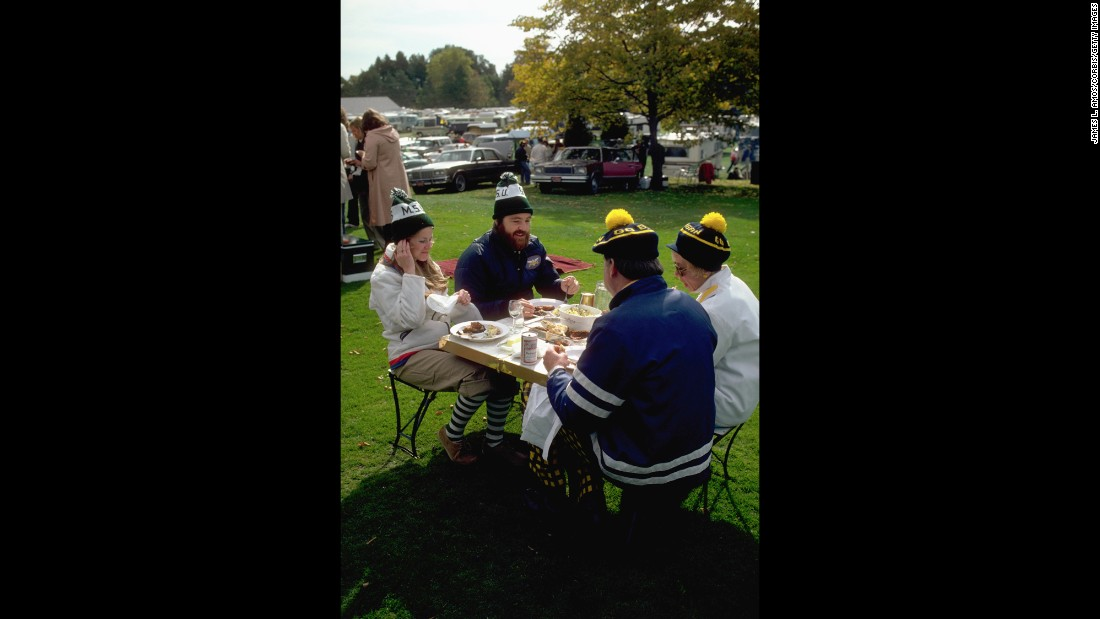 A low-key tailgating party before the annual Michigan-Michigan State football game in Ann Arbor, Michigan.