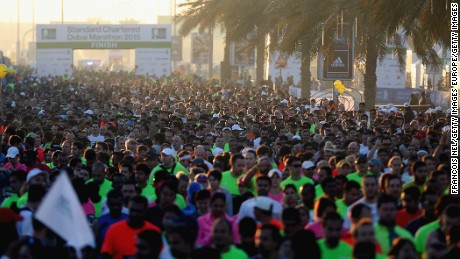 Runners at the starting line of the Dubai Marathon, January 23, 2015. First run in the year 2000, the marathon is now extremely popular, with the winner receiving $200,000 -- one of the highest race prizes in the world.