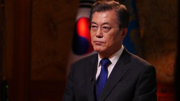 South Korean President Moon Jae-in speaks to CNN in Seoul on September 14, 2017.