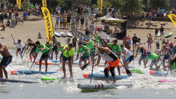 The course race begins at the beach in Hood River, Oregon.