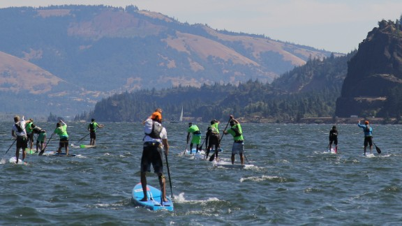 The Columbia Gorge in Oregon is known for its consistent wind which provides waves to the paddleboarders.