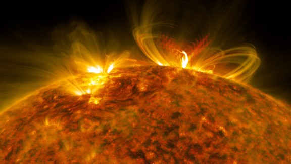 An X8.2 class solar flare flashes in the edge of the sun on September 10.