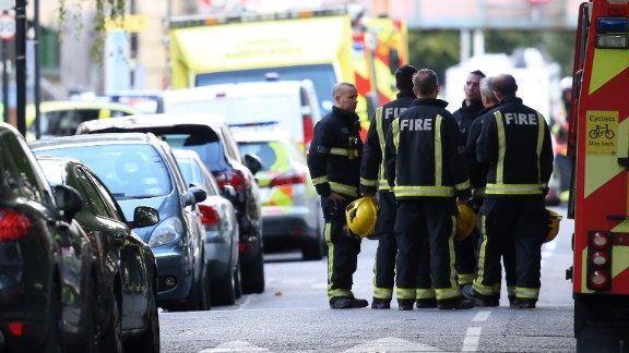 LONDON, ENGLAND - SEPTEMBER 15:  Fireman talk within the police cordon at Parsons Green Underground Station on September 15, 2017 in London, England. Several people have been injured after an explosion on a tube train in south-west London. The Police are treating the incident as terrorism.  (Photo by Jack Taylor/Getty Images)