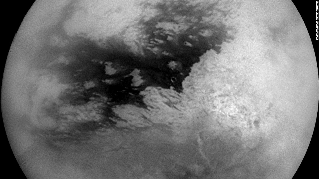 This mosaic of nine images shows Saturn's moon Titan during Cassini's first very close flyby on October 26, 2004. The spacecraft was at distances ranging from about 200,000 miles (320,000 kilometers) to 400,000 miles (640,000 kilometers) from Titan when the images were taken.