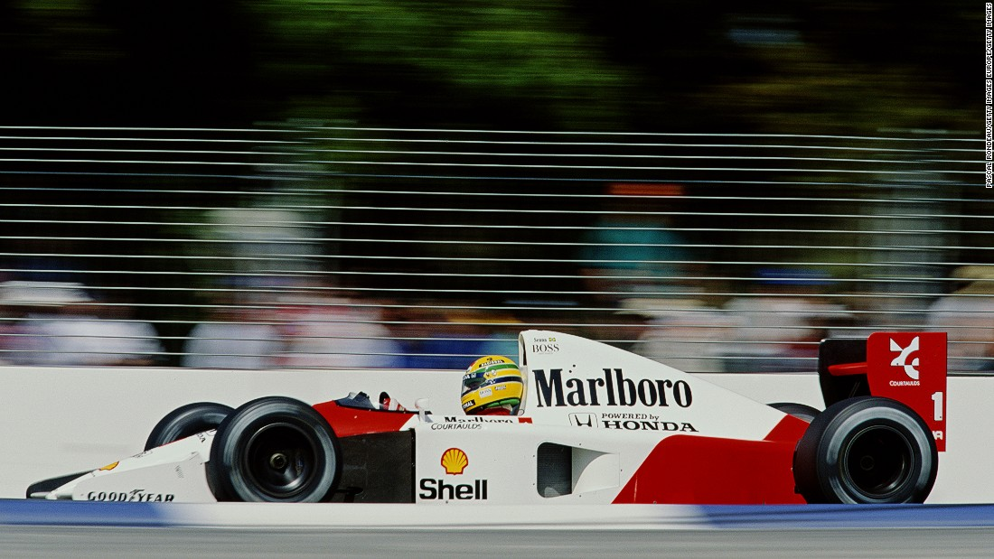 Ayrton Senna in action for McLaren at the 1991 Australian Grand Prix in Adelaide. The Brazilian won his third and final drivers' title with McLaren the same year.