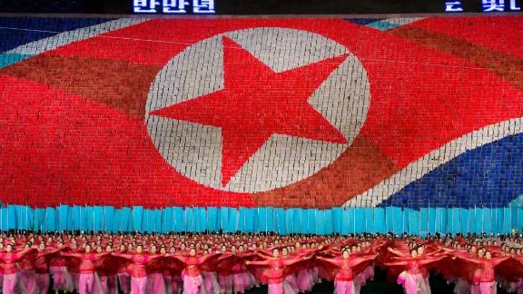 The North Korean flag in Pyongyang, North Korea, at May Day Stadium on September 8, 2012.