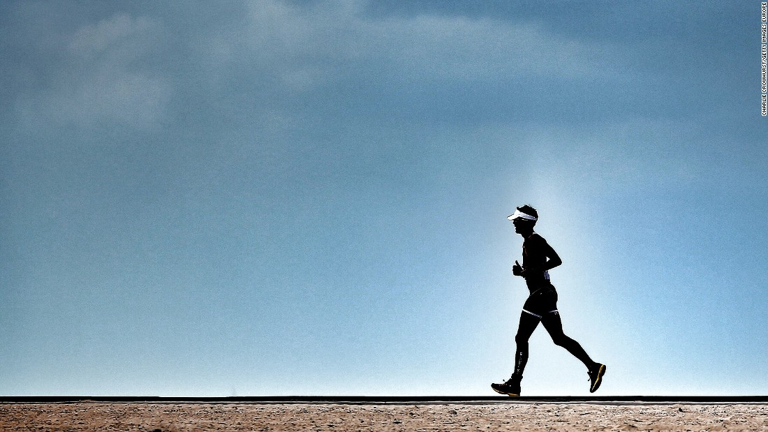 A man runs in the desert heat during the Challenge Triathlon Dubai. Despite scorching temperatures, running is a popular pursuit in the emirate, which is home to one of the world's richest marathons.<br /><em><br />Scroll through the gallery to explore some of the Middle East's toughest races.</em><br />