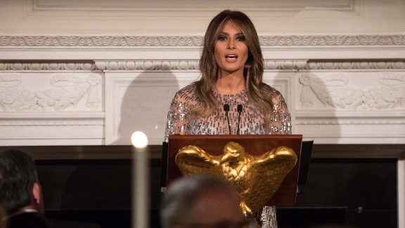 US First Lady Melania Trump  addresses the White House Historical Association dinner at the White House in Washington, DC, on September 14, 2017. (NICHOLAS KAMM/AFP/Getty Images)
