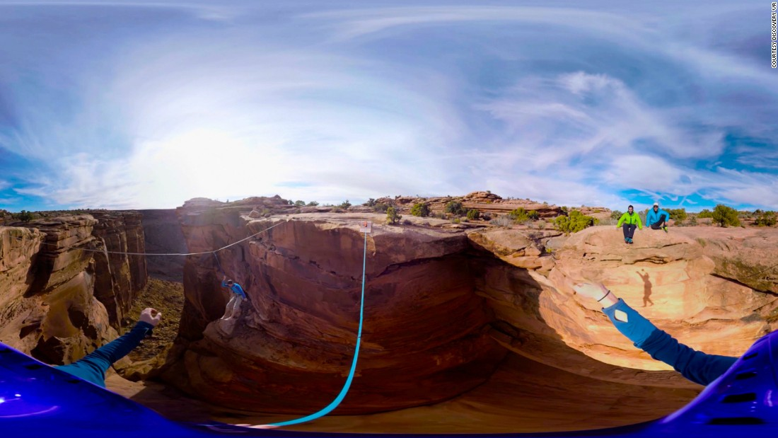"The adventurous can get a glimpse into what it's like to cross a canyon hundreds of feet above the ground (here seen in the Utah deserts) with Discover VR's ""<a href=""http://www.discoveryvr.com/watch/gillette-slackline/details"" target=""_blank"">Walk the Tight Rope.</a>""<br />"