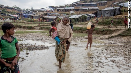 Familes endure cramped and filthy conditions on arrival in Bangladesh.