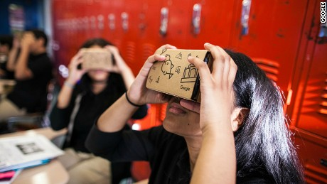 Images provided by Google which shows the VR application Google Expedition used in education.