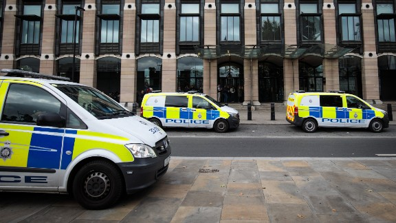 LONDON, ENGLAND - SEPTEMBER 16: Police vans sit parked outside Portcullis House in Westminster on September 16, 2017 in London, England. An 18-year-old man has been arrested in Dover in connection with yesterday's terror attack on Parsons Green station in which 30 people were injured. The UK terror threat level has been raised to 'critical'. (Photo by Jack Taylor/Getty Images)