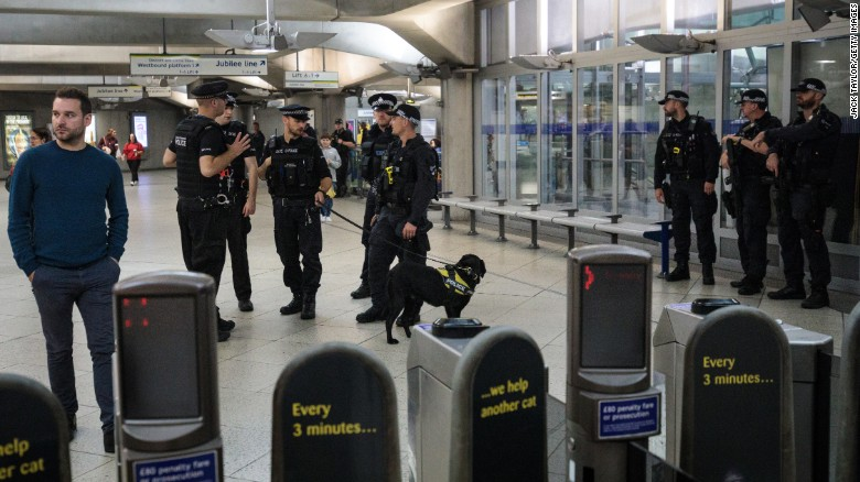 LONDON, ENGLAND - SEPTEMBER 16: Police and armed police patrol in Westminster Underground station on September 16, 2017 in London, England. An 18-year-old man has been arrested in Dover in connection with yesterday's terror attack on Parsons Green station in which 30 people were injured. The UK terror threat level has been raised to 'critical'. (Photo by Jack Taylor/Getty Images)