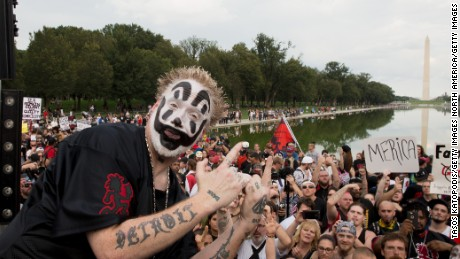 WASHINGTON, DC - SEPTEMBER 16: (R) Violent J of Insane Clown Posse before the Juggalo March takes off from the Lincoln Memorial on the National Mall, on September 16, 2017 in Washington, DC. Fans of the band Insane Clown Posse. known as Juggalos, are protesting their identification as gang by the FBI in a 2011 National Gang Threat Assessment,  (Photo by Tasos Katopodis/Getty Images)