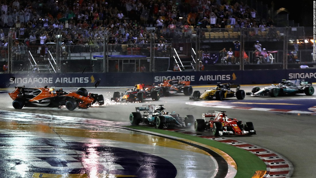 Vettel was also caught up in a chaotic start but managed to maintain the lead. Lewis Hamilton made up four places to second off the start before assuming the lead as Vettel spun out of the race at Turn Five.