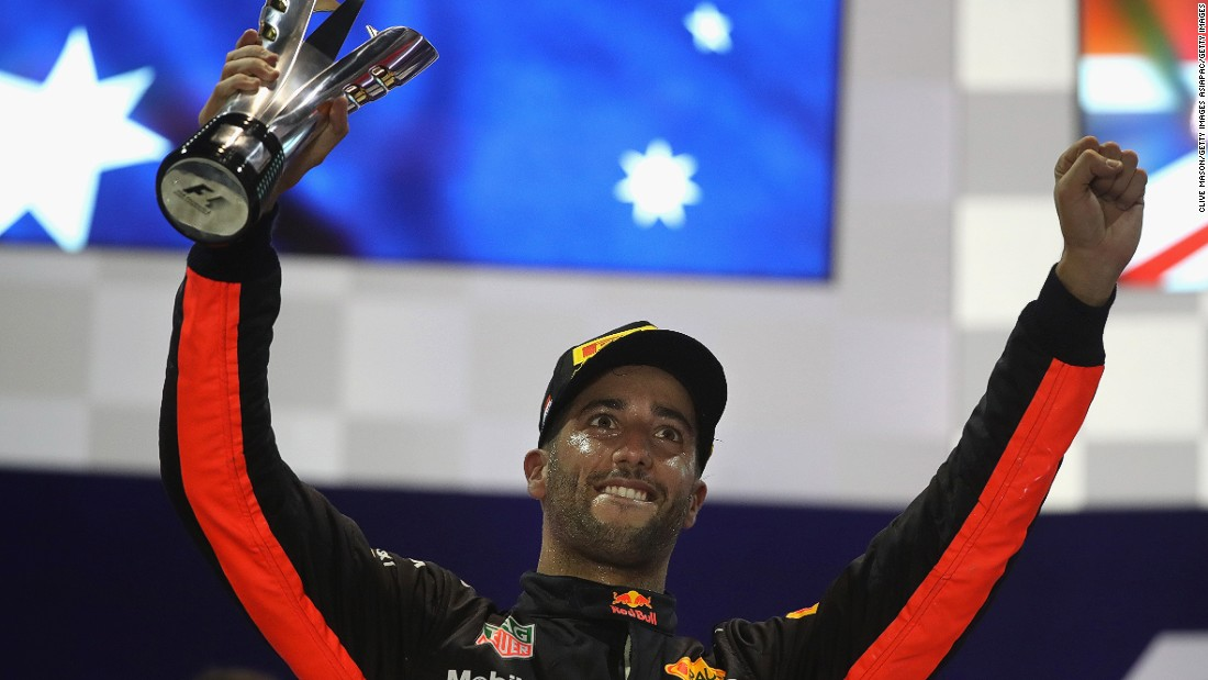 "Red Bull's Daniel Ricciardo finished on the podium for the fourth consecutive year in Singapore. ""I'm trying to win the bloody thing! I'm trying!"" he said on the podium. ""I'm a little bit disappointed to miss out on a win."""