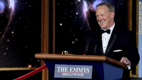 Former White House Press Secretary Sean Spicer speaks onstage during the 69th Annual Primetime Emmy Awards at Microsoft Theater on September 17, 2017 in Los Angeles, California.  (Photo by Kevin Winter/Getty Images)