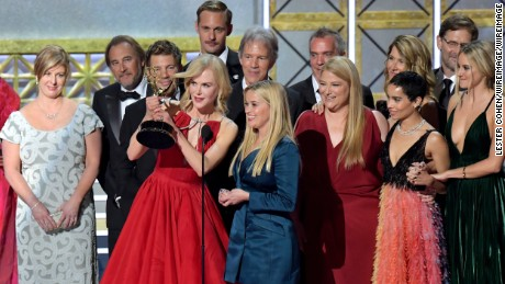 Cast and crew of  'Big Little Lies' accept the outstanding limited series Emmy.